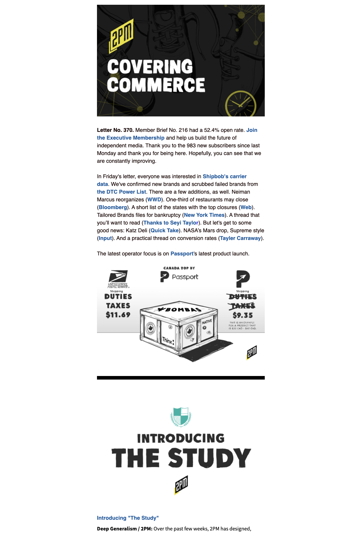 The Monday, Wednesday, and Friday newsletters are the core of 2PM Inc: an industry-leading source that analyzes the intersection of media and commerce and how those principles are applied elsewhere.